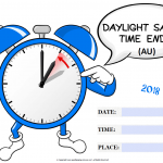 Daylight Savings Ends (AU) - 2018 - fillable