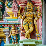Detail of indian Meenakshi temple . India, Madurai, Tamil Nadu