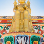 Gold Buddha statue build for worship at high mountain temple, Leh Ladakh - India