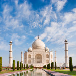 Taj Mahal on a sunny day with beautiful sky