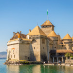View of Famous Chateau de Chillon at Lake Geneva, Canton of Vaud, Switzerland