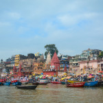 View of the riverbank of Ganges in Varanasi, India. Varanasi is one of the most colourful and fascinating places on earth.