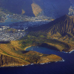 Aerial of Southeast corner of Oahu including Hawaii Kai, Koko Head Crater, Hanauma Bay, and Portlock