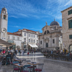Dubrovnik, Croatia - A daytime view of the old town showing shops and people on the pedestrian only streets