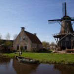 Historical and typical Dutch sawing windmill or wood saw factory