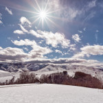 Mountain Zlatibor, Serbia at winter. Beautiful landscape in winter, a snow-covered mountain on the sunny clear day