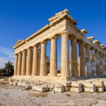 Parthenon temple on a bright day. Acropolis in Athens, a popular tourist destination and historical landmark in Greece.