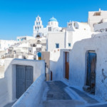 Santorini Greece Pyrgos, old village with white washed buildings