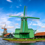 Windmills at Zaanse Schans in the Netherlands in Europe