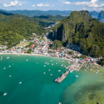 Aerial drone view of the beautiful El Nido area in Palawan, Philippines