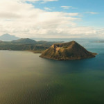 Aerial view Taal Volcano on Luzon Island North of Manila in Philippines.