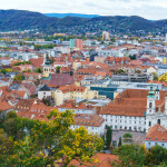 Aerial panoramic view of city from Schlossberg hill, Graz, Austria