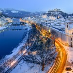 Classic view in Winter from Salzburg with its impressive fortress, Austria