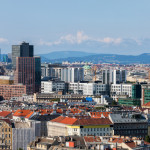 Downtown of Vienna in Austria, city center skyline