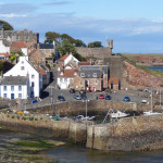 Picturesque Crail harbour in Scotland on a summers day.