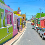 The colourful houses of Bo-Kaap, famous Malay Quarter is the Muslim Malay village in Cape Town,South Africa