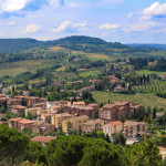 View of village and mountain in Tuscany, Italy