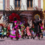 A group of colourful Mayan dancers in Guanajuato, Mexico.