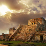 Castillo fortress at sunrise in the ancient Mayan city of Tulum, Mexico
