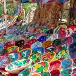 Colourful, handmade Mexican bowls at a souvenir stall. Chichen Itza, Mexico, Yucatan