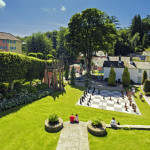 Giant Chessboard in Central Piazza of Portmeirion Village in North Wales