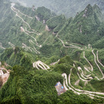 A view of the dangerous 99 curves at the Tongtian Road to Tianmen Mountain, The Heaven's Gate at Zhangjiagie, Hunan Province, China