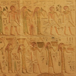 An ancient Egyptian art of hieroglyphs carving on stone