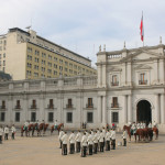 Changing of guards ceremony at La Moneda, the Presidential palace in Santiago, Chile