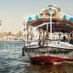 Felucca ride. Traditional tourist boats on the Nile in Cairo, Egypt.