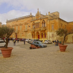 Plaza and exterior of the Cathedral Treasury museum and St Paul's Cathedral, Mdina, Malta