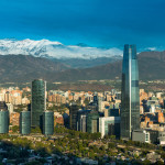 Skyline of Santiago de Chile with modern office buildings at financial district in Las Condes