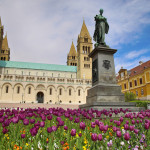Statue of Ignac Szepesy and Basilica of St. Peter & St. Paul, Pecs Cathedral in Hungary