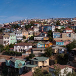 The colorful houses and hectic street in Valparaiso, Chile . It is the most important seaport in Chile.