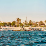 Traditional tourist boats on the Nile in Cairo, Egypt