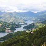 View on the Lima river meandering through Peneda Geres, the only national park in Portugal, located in the Norte region