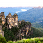 A large rock formation known as the Three Sisters in the Blue Mountains, New South Wales, Australia.