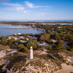 Aerial view of Bathurst Lighthouse on Rottnest Island off Western Australia coast