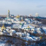 Aerial view of Kiev Pechersk Lavra in winter