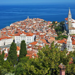 Summertime morning panorama of Piran, Slovenia