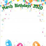 Birthday List - March 2020