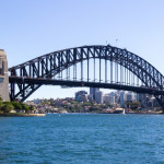 Sydney harbour bridge on a sunny day with North Sydney in the background