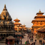 Temples on the Durbar square in Patan at sunset, Nepal